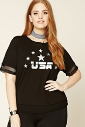Forever 21 Plus Size Metallic Usa Tee Black Silver