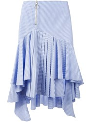 Off White Striped High Low Skirt Blue