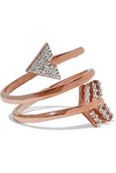 Aamaya By Priyanka Spiral Arrow Rose Gold Plated Sterling Silver Crystal Ring Rose Gold