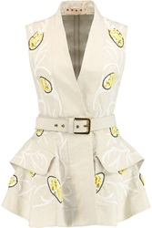 Marni Embellished Cotton Canvas Gilet White