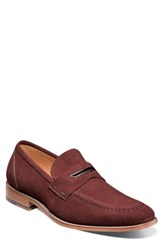 Stacy Adams Colfax Apron Toe Penny Loafer Oxblood Suede
