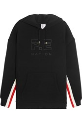 P.E Nation Prime Time Striped Scuba Jersey Hooded Sweatshirt Black