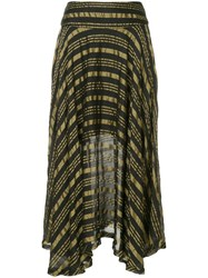 Kitx Draped Gold Stripe Skirt Nude And Neutrals
