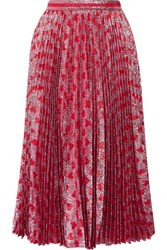 Gucci Pleated Printed Lame Skirt Red