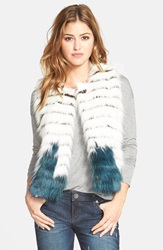 Kristen Blake Tiered Faux Fur Vest White Teal
