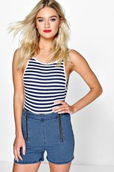 Boohoo High Waisted Zip Front Denim Shorts Blue