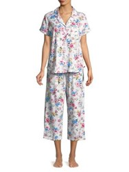 Karen Neuburger Floral Print Short Sleeve Pajamas Blue Dot