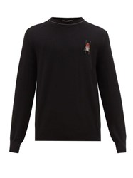 Alexander Mcqueen Beetle Embroidered Wool Sweater Black