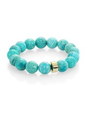Nest Amazonite Logo Beaded Stretch Bracelet Blue