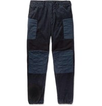 Engineered Garments Patchwork Wide Leg Cotton Corduroy Ribbed Wool And Canvas Trousers Navy