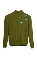 Yanina Demi Couture Embellished Cable Knit Turtleneck Green