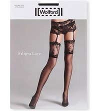 Wolford Filigra Lace Stockings Black Black