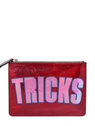 House Of Holland Bag Of Tricks Laminated Leather Bag Red Pink