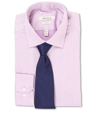 Perry Ellis Slim Fit Solid Shirt Lilac Men's Long Sleeve Button Up Purple