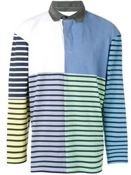 J.W.Anderson Jw Anderson Striped Patchwork Rugby Polo Top Blue