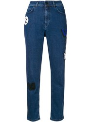 Versace Jeans High Waisted Patch Jeans Blue