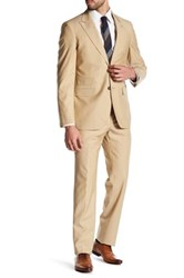 Strong Suit Cutlass Tan Two Button Peaked Lapel Wool Trim Fit Brown