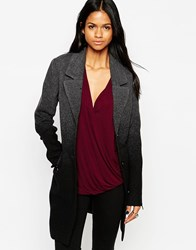 Mbym Dip Dye Double Breasted Coat 640Charcoal