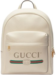 Gucci Print Leather Backpack White