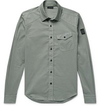 Belstaff Stretch Cotton Shirt Sage Green