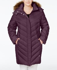 Kenneth Cole Plus Size Faux Fur Trim Chevron Quilted Down Puffer Coat Concord