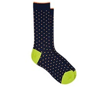 Barneys New York Polka Dot Cotton Blend Mid Calf Socks Black