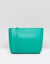Jaeger Icon Zip Top Leather Across Body Bag Green