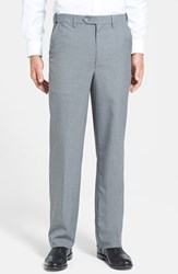 Men's Big And Tall Berle Self Sizer Waist Tropical Weight Flat Front Trousers Light Grey