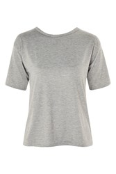 Topshop Tie Back Crop T Shirt By Glamorous Grey