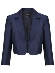 Bruce By Bruce Oldfield Wool Silk Cropped Jacket Navy