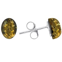 Goldmajor Green Amber And Sterling Silver Stud Earrings Silver Amber