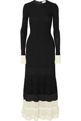 Alexander Mcqueen Two Tone Paneled Ribbed Knit Maxi Dress Black