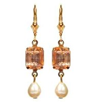 Passionate About Vintage Georgian Rhinestone Earrings In Peach