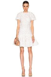 Giambattista Valli Floating Flowers Jacquard Drop Waist Dress In White