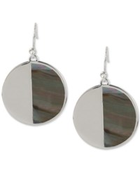 Kenneth Cole New York Silver Tone Black Mother Of Pearl Circle Drop Earrings