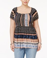 American Rag Trendy Plus Size Striped Babydoll Top Only At Macy's Classic Black Combo