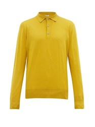 Connolly Long Sleeved Merino Wool Polo Shirt Gold