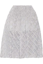 Simone Rocha Pleated Metallic Embroidered Tulle Skirt Silver
