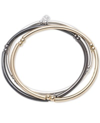 Nine West Tri Tone Set Of 3 Stretch Bangle Bracelets No Color