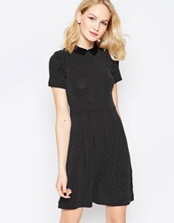 French Connection Party Polka Collared Dress With White Collar Black White Multi