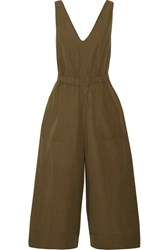 Ulla Johnson Zoe Cropped Cotton And Linen Blend Twill Jumpsuit Army Green