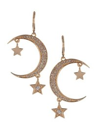 Bcbgeneration Cubic Zirconia Star And Moon Earrings Gold