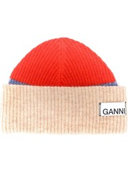 Ganni Ribbed Beanie Orange