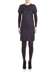 Akris Punto Wool Puff Shoulder Long Sleeve Dress Navy
