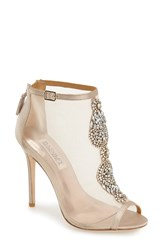Badgley Mischka 'Rana' Mesh Open Toe Bootie Women Nude