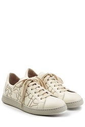 Brunello Cucinelli Micro Embellished Leather Sneakers White