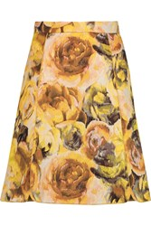 Giambattista Valli Floral Jacquard Mini Skirt Yellow