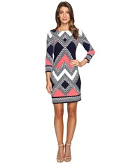 Vince Camuto Moss Crepe T Body Dress With Long Sleeves Navy Multi Women's Dress Blue