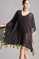 Forever 21 American And Beyond Fringe Top Black