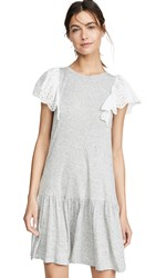 Rebecca Taylor Sleeveless Eyelet Jersey Dress Grey Melange
